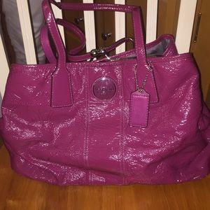 Coach Raspberry Patent Leather Bag